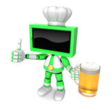 Green TV chef Mascot the left hand best gesture and right hand i Stock Image