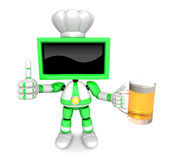 Green TV chef Mascot the left hand best gesture and right hand i Stock Photography