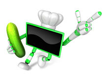 Green TV Chef mascot the right hand guides and the left hand is Stock Images
