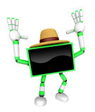 Green TV  farmer Character dynamic jumping. Create 3D Television Stock Image