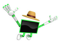 Green TV  farmer Character dynamic jumping. Create 3D Television Stock Photos