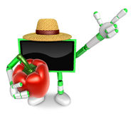 Green TV farmer mascot the right hand guides and the left hand i Stock Photos