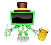 Green TV gentleman Mascot the left hand best gesture and right h Royalty Free Stock Image