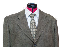 Green tweed jacket with shirt and tie close up Stock Photos