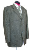 Green tweed jacket with shirt and tie isolated Stock Photography