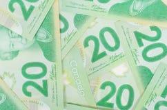 Green twenty bank notes Stock Photo