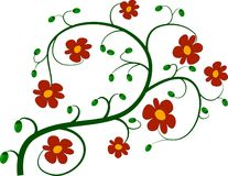 Green twig and red flowers. Drawing. green twig full of red flowers and green buds Royalty Free Stock Photos