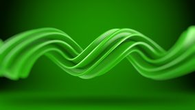 Green twisted spiral shape 3D rendering with DOF. Green twisted spiral shape. Computer designed abstract geometric 3D rendering with DOF Stock Images