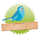 Green Twitter sign with space for text Royalty Free Stock Photography