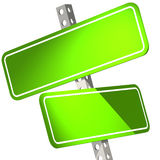 Green two road sign isolated Royalty Free Stock Photography