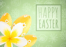 Green type in box with yellow flower and eggs against green easter pattern Stock Images