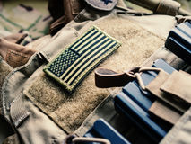 Green U.S. Flag On The Bulletproof Vest Stock Photo