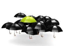 Green umbrella. A rendered artwork with white background stock illustration