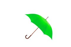 Green umbrella isolated on white Stock Photos