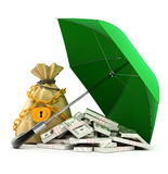 Green umbrella protecting money from rain Royalty Free Stock Photography