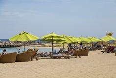 Green Umbrellas on Beach stock photo