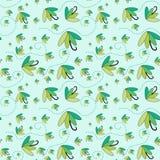 Green umbrellas flying seamless background Stock Photos