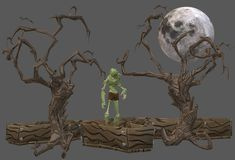 A green undead zombie standing on an opened coffin in a forest of wizened trees and under the full moonlight. A computer generated illustration image of a green stock illustration