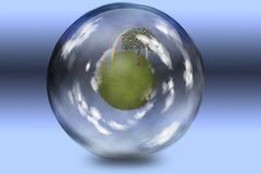 Green under glass. Grassy spehe with tree and rainbow enclosed in glass sphere Royalty Free Stock Image