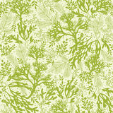 Green underwater seaweed seamless pattern Royalty Free Stock Photo