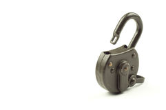 Green unlocked padlock on a white background. Green unlocked padlock. Security and data protection Royalty Free Stock Photography