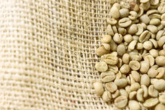 Green unroasted Coffee Beans in a sack. Royalty Free Stock Photos