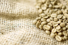 Green unroasted Coffee Beans in a sack. Royalty Free Stock Images