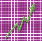 Green up arrow and chart Royalty Free Stock Image