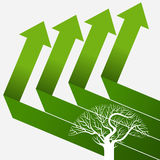 Green up arrows with tree Royalty Free Stock Photography