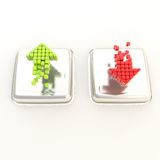 Green up and red arrows over chrome metal buttons. Increase green up and red decrease arrows over chrome metal glossy buttons Stock Photos