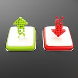 Green up and red arrows on white square shiny buttons. Increase green up and red decrease arrows on white square shiny buttons over black glossy background Royalty Free Stock Photo