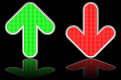 Green up and red down arrows on. Glossy black background. High resolution 3D image Stock Image