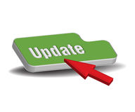 Green update button. Abstract colorful illustration with a green update button and a red cursor  on a white background Stock Photo