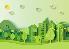 Green urban city and forest environment concept paper art style Royalty Free Stock Photo