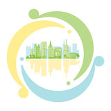 Green urban inside icon recycling in flat style. Eco-friendly ci. Ty concept. Energy safety and clean planet Royalty Free Stock Images
