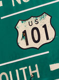 Green US 101 south highway sign Royalty Free Stock Photos