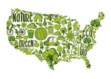 Green USA with environmental icons Royalty Free Stock Photo
