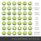 42 Green useful website icons. Royalty Free Stock Images