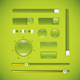 Green user interface, buttons and knobs Stock Photos