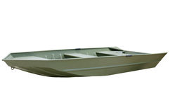 Green V-bottom aluminum john jon boat Royalty Free Stock Photography