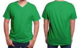 Green V-Neck shirt design template Stock Images