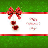 Green Valentines background with hearts and bow Stock Photos