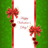Green Valentines background with hearts Stock Photography