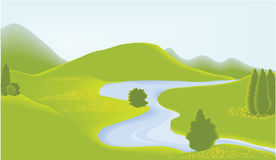 Green valey. Vector illustration of green landscape Royalty Free Stock Photos
