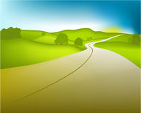 Green valey. Vector illustration of green landscape Royalty Free Stock Images