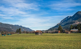 The green valley in Bavarian Alps near Garmisch-Partenkirchen to Stock Images