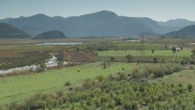 Green valley with farms and gardens. Candir organic village, Dalyan, Turkey. 4k stock video