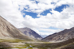 Green valley, glacial streams and mountains of Ladakh Royalty Free Stock Image