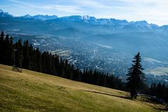 Green valley in the high Tatra mountains in Zakopane, Poland. Stock Photo