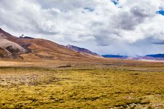 Green valley in Himalaya mountains.  royalty free stock image